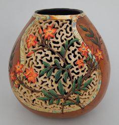Gourd art jessamine flower flower vine orange by BeautifulGourdArt