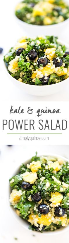 A healthy, nutrient-packed salad, this Tropical Kale & Quinoa Power Salad is a perfect lunch or side dish recipe. Comes together in 10 minutes and stores well for leftovers!