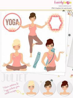 Yoga woman character clipart fitness woman clipart set with