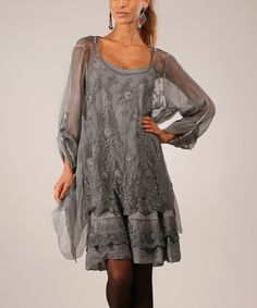 Look at this Gray Ruffle Sheer Silk Top