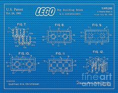 1961 Lego Building Blocks Patent Art in White with a Blue Lego Baseplate as Background. The LEGO Logo is also included. U.S. Patent Awarded to Godtfred Kirk Christiansen.