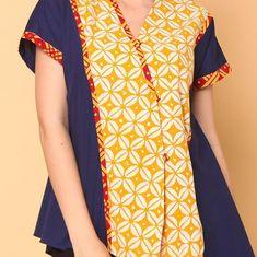 Jamia Atasan Batik Lengan Pendek Navy - ... - Djani - 189296 Blouse Batik, Batik Dress, Fashion Ideas, Women's Fashion, Batik Fashion, Kebaya, Cute Tops, I Dress, Dress Collection