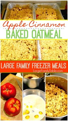 Apple Cinnamon Harvest Baked Oatmeal Recipe is a simple freezer meal breakfast recipe that your family will love! It's easy comfort food for breakfast and perfect for large families! Budget Freezer Meals, Make Ahead Freezer Meals, Freezer Cooking, Frugal Meals, Real Cooking, Bulk Cooking, Easy Meals, Inexpensive Meals, Cheap Dinners