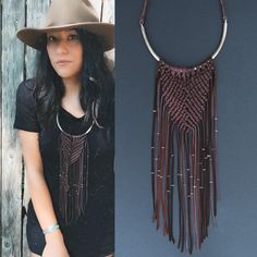 Macrame necklace. Macrame fringe necklace. Witchy от SOUTHBOUNDvlc