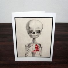 Valentines Day / Macabre Baby Skeleton with Heart Greeting Cards / Invitations BY Ronmoart on etsy