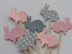 24 Pink Shimmer and Grey Dot Bunny Party by SewPrettyInVermont, $5.50