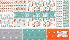 Modern Woodlands. Surface Pattern Design. Available for licensing. Emily Ann Studio. Spoonflower fabric.