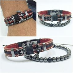 Kit 2 Pulseiras Masculinas Couro Ancora Shambala Hematita mens bracelets fashion style cocar brasil