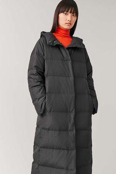 HOODED LONG PUFFER COAT - Black - Coats and Jackets - COS Long Puffer Coat, Duck Down, Staple Pieces, Khaki Green, Work Wear, Black Coats, Hoods, Winter Jackets