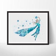 Princess Elsa Frozen Watercolor Art - VividEditions