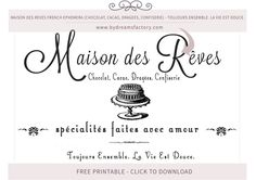 Maison des Reves French ephemera (Chocolat, Cacao, Dragees, Confiserie) - Toujours ensemble. La vie est douce - French typography free download www.bydreamsfactory.com