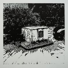 > Nám. sv. Anny 351-7 [printmaking, cutting into MDF] #printmaking #woodcut #bunker #art