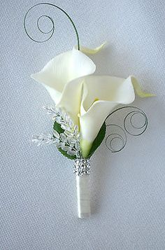 Calla Lilies wedding ladies corsage or double buttonhole, more colours available