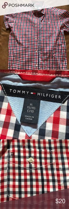 Tommy Hilfiger boys shirt size XL Red, white and blue boys XL button down shirt. Perfect for summer and 4th of July! By Tommy Hilfiger. Never worn. Dry cleaned Tommy Hilfiger Shirts & Tops Button Down Shirts