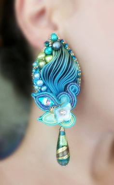 Silk Earrings, designed by Serena Di Mercione. - Shibori silk, soutache, swarovski, pearls, Murano-Glass drop