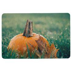 Pumpkin on the Grass Floor Mat
