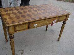 crackled and stenciled amber desk