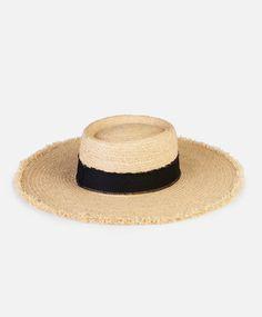 Sombrero rafia ala ancha flecos - Sombreros.