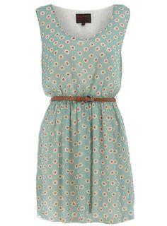 green spot belted dress
