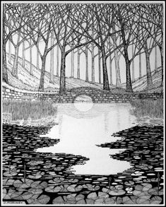 Pen and ink illustration. Landscape Sketch, Landscape Drawings, Pen Illustration, Ink Illustrations, Pond Drawing, Drawing Tips, Drawing Reference, Wooded Landscaping, Oil Pastel Drawings