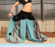 Black Velvet Turquoise Stripe Taffeta ATS by VespertineFab on Etsy