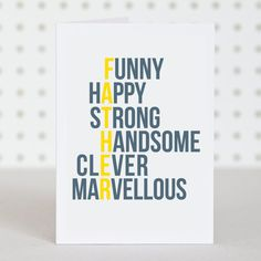 Marvellous Dad - Birthday / Fathers Day Card via Etsy