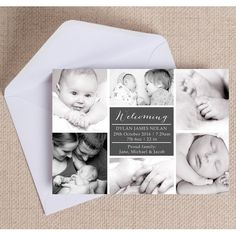 Our classic collage photo birth announcement card is a beautiful design to send to friends and family, announcing the birth of your little one.