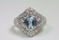 Antique Aquamarine Diamond Engagement Ring Platinum Ring Size 5 UK-J1/2 Art Deco #Handmade #SolitairewithAccents