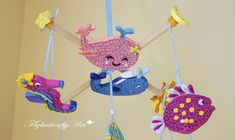 Blu ocean quilled baby crib mobile