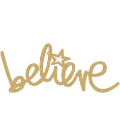 "Heidi Swapp Oh What Fun Wall Decor-Gold Glitter Believe 21.1""X8.7"""