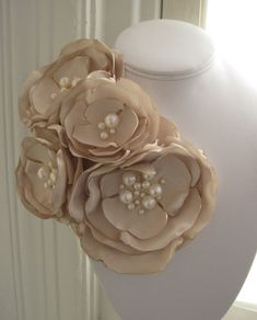 fabric flower brooch - four bloom corsage pin in ivory with freshwater pearls. Fabric Flower Brooch, Fabric Flower Tutorial, Organza Flowers, Felt Flowers, Diy Flowers, Fabric Flowers, Paper Flowers, Fabric Beads, Fabric Ribbon