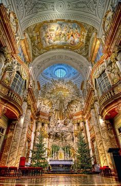 The St. Charles's Church, or Karlskirche, is one of the most outstanding baroque church structures in Vienna, Austria.  It was completed in 1737.