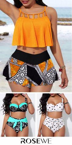 Bikini For Sale. Hit the beach in this awesome bikini set! Women's Swimsuits & Cover Ups, Cute Swimsuits, Women Swimsuits, Swimwear Fashion, Bikini Fashion, Bikini Swimwear, Bikini Set, Flounce Bikini, Trendy Bikinis