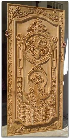 33 Inspiring Carved Wood Doors Design Ideas - Custom wood doors, whether elegant or rustic, are a durable choice that can really set off the style of your home. With the latest custom exterior doo. Front Door Design Wood, Double Door Design, Door Gate Design, Wooden Door Design, Wood Design, Modern Wooden Doors, Custom Wood Doors, Pooja Room Door Design, Door Design Interior
