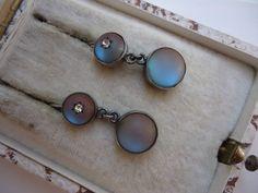 Victorian Silver Saphiret Glass Earrings