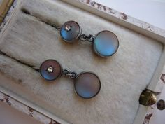 Victorian Silver Saphiret Glass Earrings