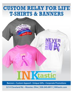 Relay for Life shirts from INKtastic. 30% off all sales goes to the Relay for Life fund.