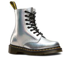 All the original boots DNA — like grooved edges, 8-eyes and a scripted heel-loop — but with a raw ankle. And this season, we gave it a holiday makeover in a party-ready, iridescent metallic leather. Retains all the classic Doc's DNA Built on the iconic and famous Dr. Martens air-cushioned sole