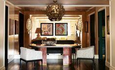 DECORALINKS.COM Beautiful dining at Cameron Diaz's ex-apartment: Fabrice Penaux paintings. Armchairs by Vladimir Kagan