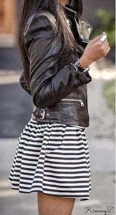 I love leather and stripes!