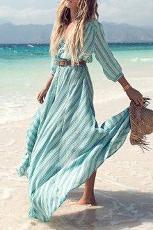 Vertical Stripe Single-Breasted Dress. Boho bohemian hippie hippy gypsy style. For more follow www.pinterest.com/ninayay and stay positively #inspired