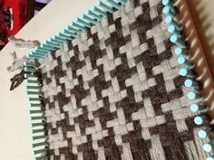 #Loom knitting in progress. Houndstooth scarf, free pattern at Lion Brand, with Martha Stewart Knit & Weave Loom Kit