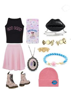 """""""Melanie Martinez Fangirl - Pink/Blue/Black - Casual"""" by punkrockrunaway ❤ liked on Polyvore featuring Dollhouse, Dr. Martens, Marc by Marc Jacobs, Torrid and Markus Lupfer"""