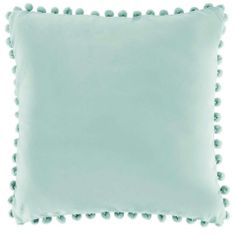 Bobby duck egg blue pom pom cushion - cotton - Cotton pom pom fringe - Poly fill pad - Size x - Hand wash with care so as not to damage the pom pom trim - Unsuitable for a machine wash - Matching items available Duck Egg Blue Decor, Duck Egg Blue Cushions, Buch Design, Pom Pom Trim, Pom Poms, Velvet Cushions, Scatter Cushions, Colourful Cushions, Urban