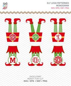 Elf Legs Monogram Patterned Christmas Frame DXF SVG EPS png vinyl winter cut file Cricut Design, Silhouette studio, Sure Cuts A Lot, digital by SvgCutArt on Etsy