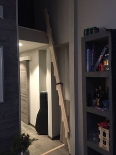 Cool folding stairs I designed Loft Room, Bedroom Loft, Space Saving Staircase, Stairway Art, Building Stairs, Attic Design, Tiny House Cabin, Loft Spaces, Staircase Design