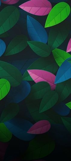 Floral, leaves, black, pink, green, wallpaper, clean, galaxy, colour, abstract, digital art, s8, walls, Samsung, galaxy s8, note, galaxy s9