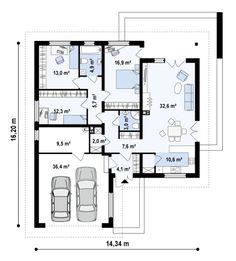 Проект одноэтажного дома с гаражом для двух автомобилей и большим хозяйственным помещением - удобно, комфортно, недорого. Более 1000 готовых проектов домов от лучших архитекторов России в компании Dom4M.