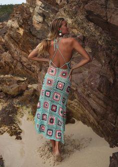 blue crocheted maxi dress