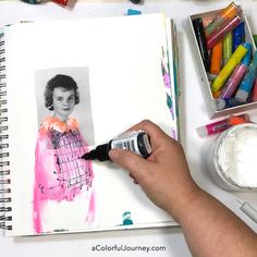 Art journaling tutorial that starts with a vintage photo that is all about letting go of expectations and just enjoy the process of being creative